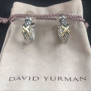 David Yurman 925 585 cross over earrings cable dy